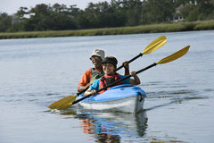 Couple kayaking. Stock Photos