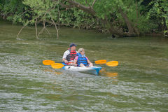 Couple Kayaking on the Roanoke River Royalty Free Stock Photo