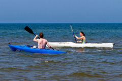 Couple kayaking Stock Photography