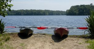 Long Island New York couple of kayaks Stock Photography