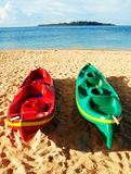 Couple kayaks on the shore Stock Images
