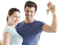Couple with the keys. Of the new home Stock Images