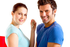 Couple with the keys of the new home Royalty Free Stock Photo