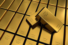 Couple of 1 kg bullions in 999.99 fine gold. A couple of 1 kg bullions in 999.99 fine gold Stock Photo