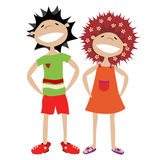 Couple of kids. Happy, smiling couple, stylized characters over white background Royalty Free Stock Image