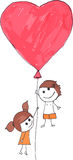 Couple kids flying on heart balloon Royalty Free Stock Images
