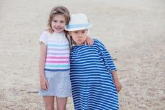 Couple Kids Face Embracing Stock Image