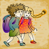 Couple of kids going to school. Cute cheerful kids going to school in colorful clothes and schoolbag Royalty Free Stock Images