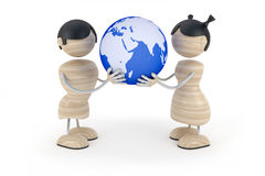 Couple kids hold globe. In white background Stock Photos