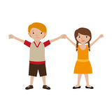 Couple of kids togheter in casual clothes Royalty Free Stock Photo