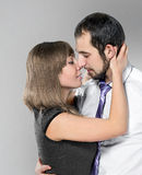 Couple before kiss Stock Images