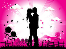 Couple kisses on a meadow silh royalty free illustration