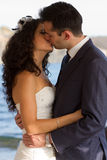 Couple kissin during wedding dance Royalty Free Stock Images