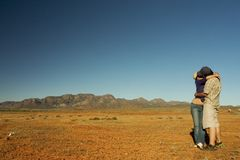 Couple Kissing. Australia Outback Royalty Free Stock Photography