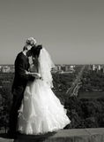 Couple kissing. Portrait of the a newly wedded couple kissing Stock Photo