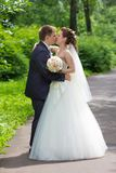 Couple kissing in the alley. Portrait young happy bride and groom in nature Royalty Free Stock Photo