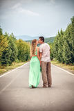 Couple kissing at alley in city. Happy Couple kissing at alley in city Royalty Free Stock Images