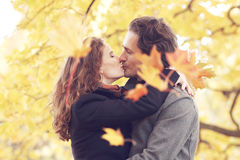 Couple kissing in autumn park Stock Image