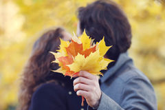 Couple kissing in autumn park Stock Photos