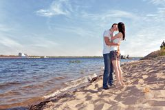 Couple kissing on beach Royalty Free Stock Photo