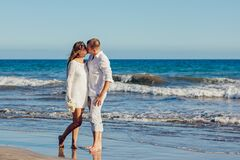 Couple kissing on beach Royalty Free Stock Image