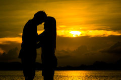 Couple kissing on the beach Royalty Free Stock Photo