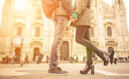 Couple kissing in Duomo square, Milan royalty free stock photo