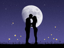 Couple kissing with fireflies. Illustration of couple kissing with fireflies Royalty Free Stock Photos