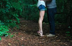 Couple kissing in a forest Royalty Free Stock Images