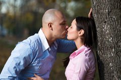 Couple Kissing In Forest Royalty Free Stock Images