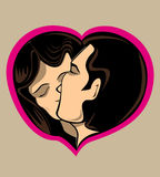 Couple kissing in love heart Stock Image