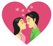 Couple Kissing, Love, Romance. A vector illustration of couple kissing. Best for Love, Romance, Wedding Concept Royalty Free Illustration