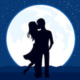 Couple Kissing Moon Royalty Free Stock Image