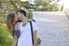 Couple kissing outdoors Royalty Free Stock Photo