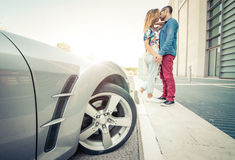 Couple kissing outside the car Stock Photography