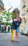 Couple kissing in Paris on Montmartre Royalty Free Stock Images