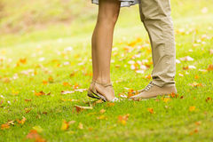 Couple kissing park Royalty Free Stock Photography