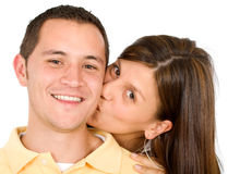 Couple kissing portrait Royalty Free Stock Photography
