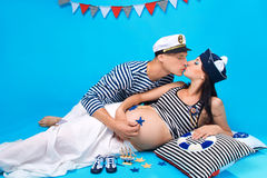 A couple kissing during pregnancy Stock Photography