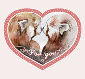 Couple of kissing red pandas in pink heart shaped frame Stock Image