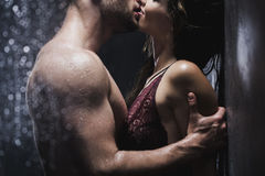 Couple kissing in the shower Royalty Free Stock Photo