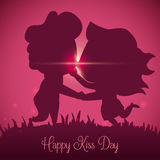 Couple Kissing Silhouette in the Sunset of Kiss Day, Vector Illustration royalty free stock photo