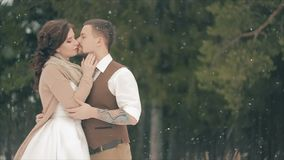 Couple Kissing on Snow Field on Winter Day. stock footage