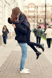 Couple kissing at street Royalty Free Stock Images
