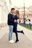 Couple kissing at street Royalty Free Stock Photo