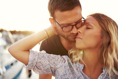 Couple Kissing On A Summer Evening Royalty Free Stock Images
