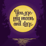 Couple kissing in the tram. Full moon and stars. Vector illustration with organized layers. Romantic card or poster with lettering quote saying You are my moon royalty free illustration