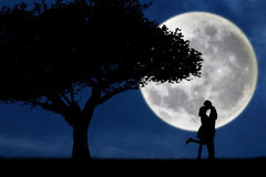 Couple kissing by a tree on blue full moon silhouette Stock Photo