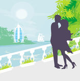 Couple kissing, tropical vacation Stock Photography