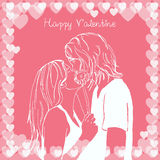 Couple kissing valentine card Stock Images